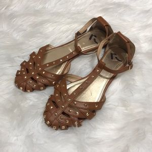 Report Tan Gold Studded strappy sandal